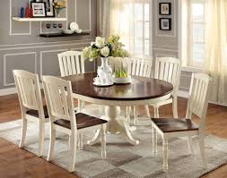 furniture of america vintage white lanie 7 piece cottage oval