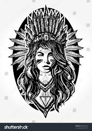 native american woman tattoo art ethnic stock vector 708068326