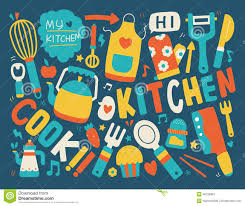 Kitchen Background Cooking And Kitchen Background Stock Vector Image 46726904
