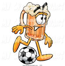 cartoon beer sports clip art of a sporty foaming beer mug mascot cartoon