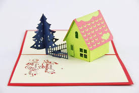 3d pop up handmade christmas pine tree house holidays greeting