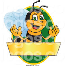 royalty free vector logo of a cartoon worker bee mascot over blank
