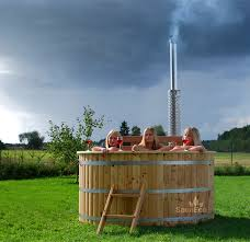 Wood Fired Bathtub Luxurious Wooden Jacuzzi Tub Bubble Jet System Led Lights