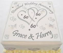 60th anniversary cake topper buy diamond wedding cake topper personalised edible icing 7 5