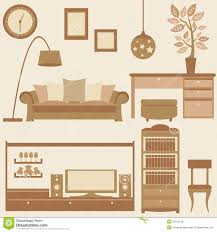 Set Furniture Living Room Vector Set Of Furniture In Living Room Royalty Free Stock Images