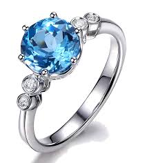 blue topaz engagement rings 1 carat blue topaz and diamond engagement ring in white