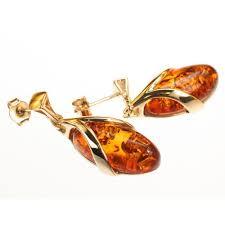 14kt gold earrings cognac oval shaped baltic sea earrings set in 14kt gold