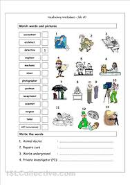 vocabulary matching worksheet jobs 3 themed packets