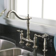bridge style kitchen faucet charelstown 2 handle brushed nickel lead free bridge style kitchen