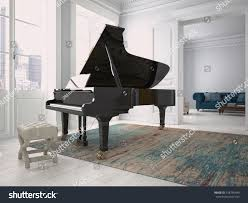 black piano modern living room 3d stock illustration 318740480