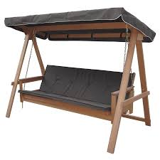decor 3 seat canopy glider swing with wood frame for elegant