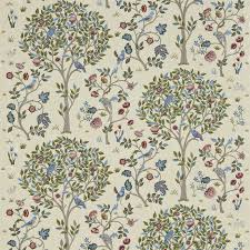 William Morris Wallpaper by Kelmscott Tree Fabric Woad Rose 230343 William Morris U0026 Co