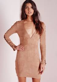 missguided faux suede lace up detail bodycon dress tan in brown lyst