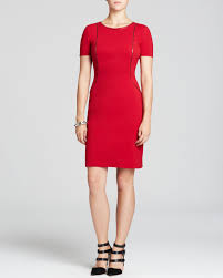 red velvet bentley elie tahari bentley zip seam dress in red lyst