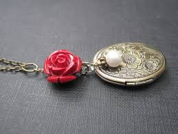 red rose necklace images Red rose antique gold floral locket necklace vamps jewelry jpg