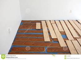 floating hardwood floor installation stock photo image 24782288