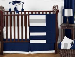 Crib Bedding Blue Navy Blue And Gray Stripe Baby Bedding 11pc Crib Set By Sweet