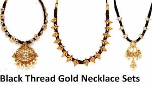 black gold necklace jewelry images Black thread jewellery designs silk thread chain in gold jpg