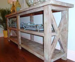 the traditional modern combination of rustic console table