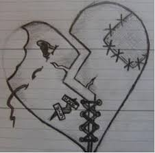drawn emo broken heart pencil and in color drawn emo broken heart