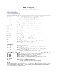 College Graduate Resume Samples by Film Production Resume Template Resume Builder
