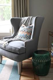 How To Reupholster A Wingback Armchair Functional U0026 Beautiful Sunbrella Fabric Indoors The Inspired Room
