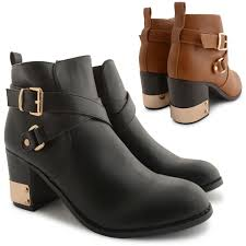 ladies ankle biker boots new dolcis ladies stylish mid heel metal trim chelsea ankle biker