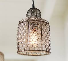 Wire Pendant Light Harlowe Wire Glass Indoor Outdoor Pendant Pottery Barn