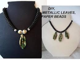 necklace making charms images Paper beads how to make gold metallic leaf charms for jewelry jpg