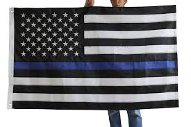 Flag Description Blue Line Flag Police Officer Support 3x5 Foot With Embroidered
