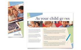play school brochure templates child care preschool brochure template design