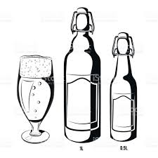 beer can cartoon vector set of black and white beer bottles halfliter and liter
