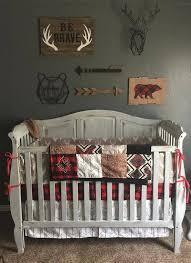 Western Boy Crib Bedding Woodland Boy Crib Bedding Gray Buck Deer Skin Minky White Gray
