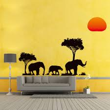 cartoon tree elephant sunset removable decal ekstra