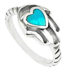 silver hand rings images Green turquoise tibetan 925 silver hand of god hamsa ring size 7 JPG
