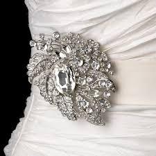 wedding sash sash bridal belt with silver clear leaf brooch 129