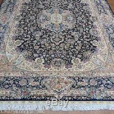 Oversize Area Rugs 9x12 Blue Handmade Persian All Silk Carpet Large Oversize Oriental