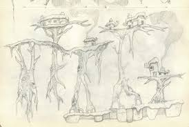 concept sketch of small smoking houses on gnarly tree platforms