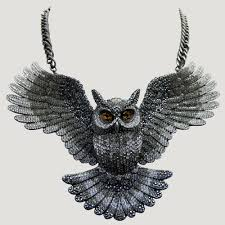 crystal owl necklace images Large crystal open wings owl necklace butler wilson jpg