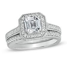 white sapphire wedding rings 6 0mm asscher cut lab created white sapphire bridal set in