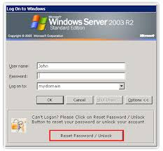 reset microsoft online services password self service password reset account unlock via windows logon ctrl