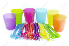 plastic ware spoon fork cup plastic ware with white isolate background stock