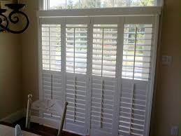 Bypass Shutters For Patio Doors Plantation Shutters For Sliding Doors Drapery Crafters