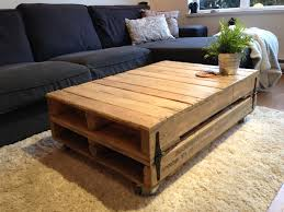 living room wooden table with rustic design and side shelves for