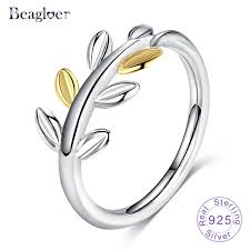aliexpress buy beagloer new arrival ring gold beagloer new 925 sterling silver laurel leaves anniversary rings