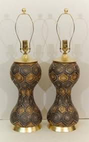 pair of moroccan style painted glass table lamps with gold leaf
