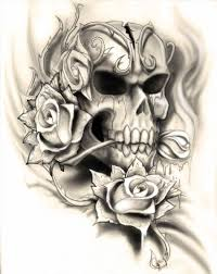 skull with flowers by green on skulls roses and skull drawings