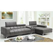 Leather Sectional Sofa With Chaise Furniture Of America Riverton 2 Piece Sectional Sofa With Optional