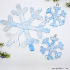 snowflake decorations pour painted snowflake decorations winter for kids twitchetts