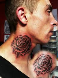 grey rose side neck tattoo for girls real photo pictures images